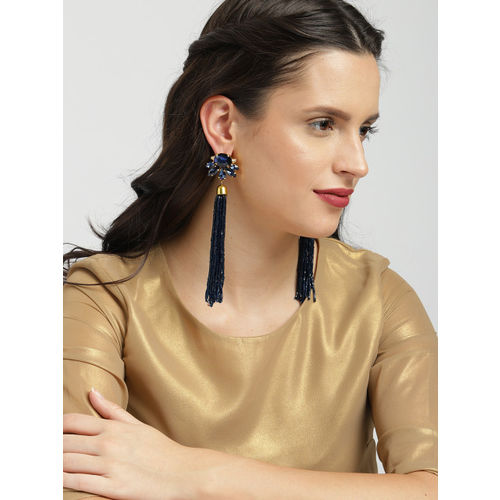 Zaveri Pearls Navy Blue & Gold-Toned Contemporary Drop Earrings