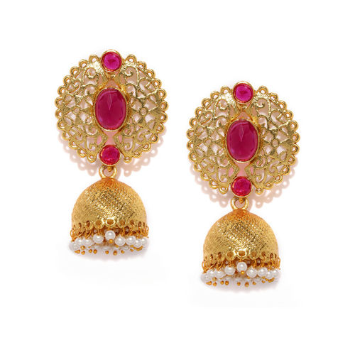 Zaveri Pearls Gold-Toned & Pink Dome Shaped Jhumkas