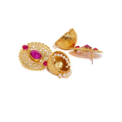 Zaveri Pearls Gold-Toned & Pink Dome Shaped Jhumkas