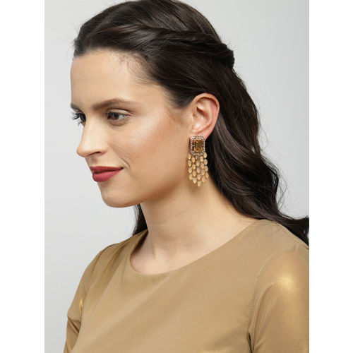 Zaveri Pearls Gold-Toned & Beige Contemporary Drop Earrings
