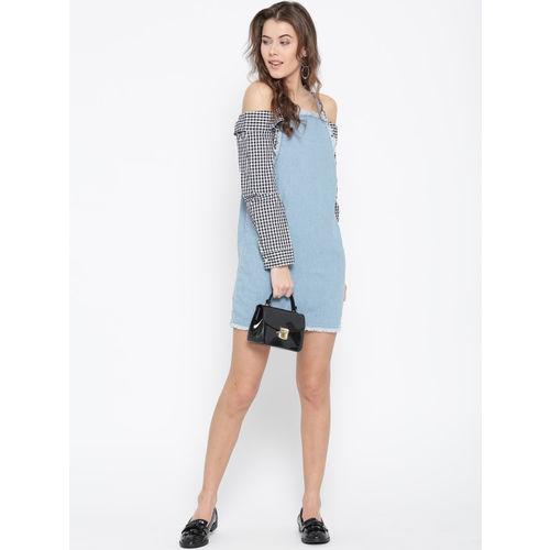 FOREVER 21 Women Blue Solid Denim Shift Dress