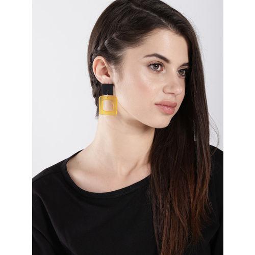 ToniQ Yellow & Black Square Drop Earrings