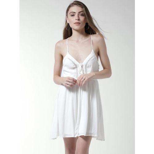 FOREVER 21 Women White Solid Fit and Flare Dress