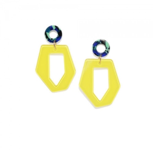 OOMPH Yellow & Blue Handcrafted Geometric Drop Earrings