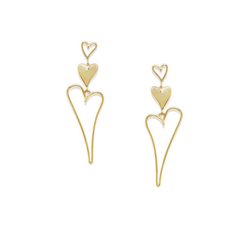 OOMPH Gold-Toned Heart Shaped Drop Earrings