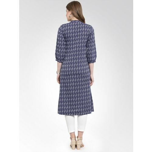 Jompers Women Blue & Grey Printed Straight Kurta