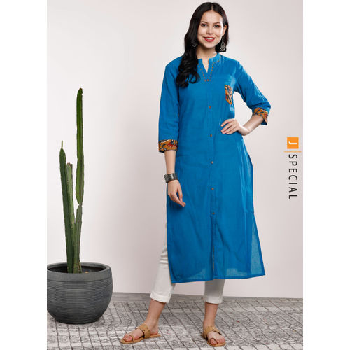 Sangria Solid Mandarin Collar Straight Fit Kurta With Three-Quarter Sleeves