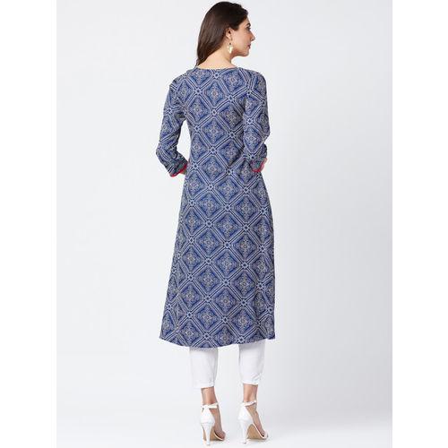 Tissu Women Blue & White Printed A-Line Kurta