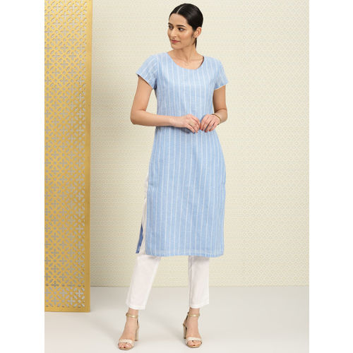 House of Pataudi Women Blue Cotton Dobby Kurta with Trousers