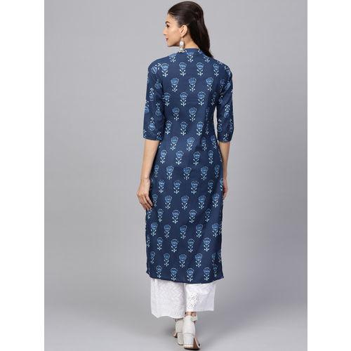 Indo Era Navy Blue Cotton Printed Straight Kurta