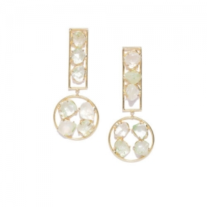 Blueberry Gold-Plated Stone-Studded Geometric Drop Earrings