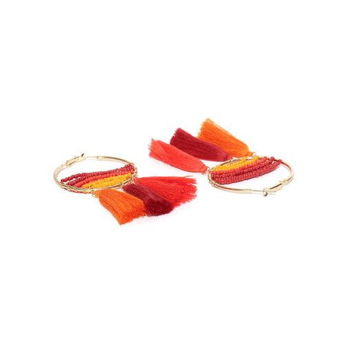 Blueberry Orange & Red Tasselled Hoop Earrings