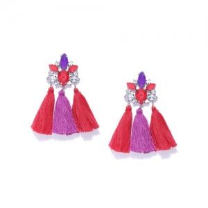 Blueberry Purple & Red Stone-Studded Tassel Drop Earrings