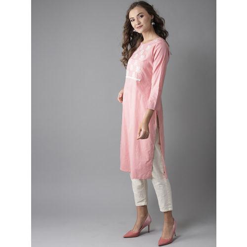 Moda Rapido Women Pink Yoke Design Straight Kurta