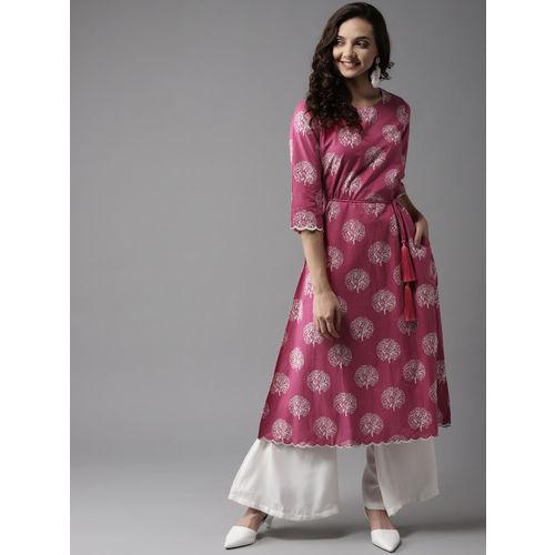 HERE&NOW Women Pink & White Printed A-Line Kurta