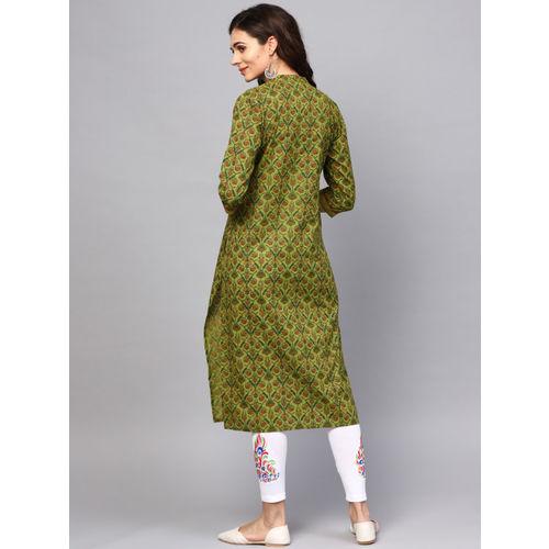 AKS Women Green & Brown Printed Straight Kurta