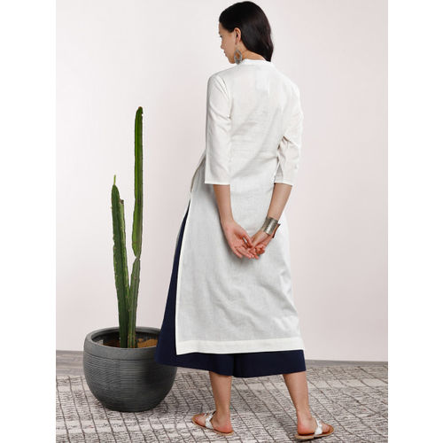 Sangria Women Off-White & Navy Blue Solid Kurta with Trousers