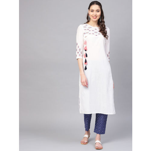 Yufta Women White & Blue Yoke Design Kurta with Trousers