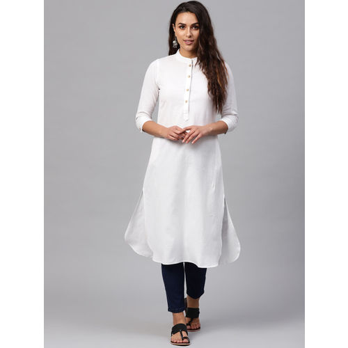 SASSAFRAS Women White Solid Straight Kurta