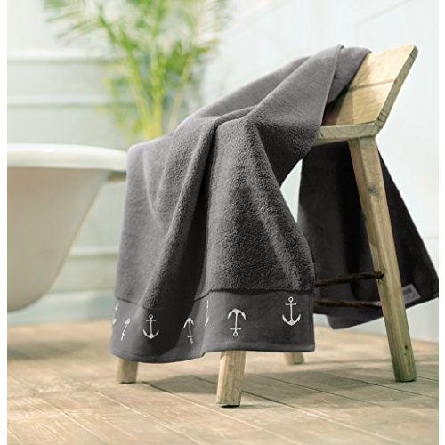 Swiss Republic Rivera 2 Piece 600 GSM Cotton Bath Towel - Light Grey and Dark Grey