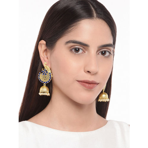 Golden Peacock Gold-Toned & Blue Peacock Shaped Jhumkas