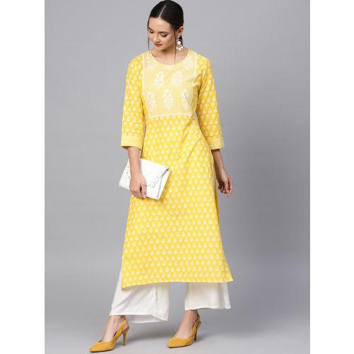 Varanga Women Yellow & White Printed Straight Kurta