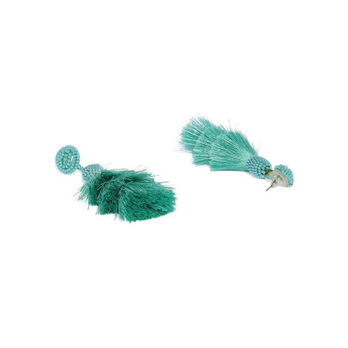 Golden Peacock Teal Green Tasselled Drop Earrings