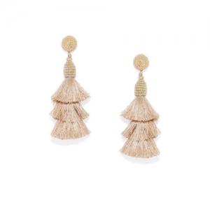 Golden Peacock Gold-Plated & Beige Tasselled Drop Earrings