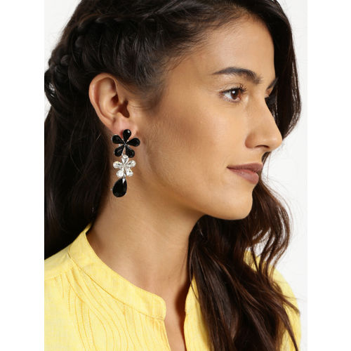 Golden Peacock Silver-Plated & Black Floral Embellished Drop Earrings