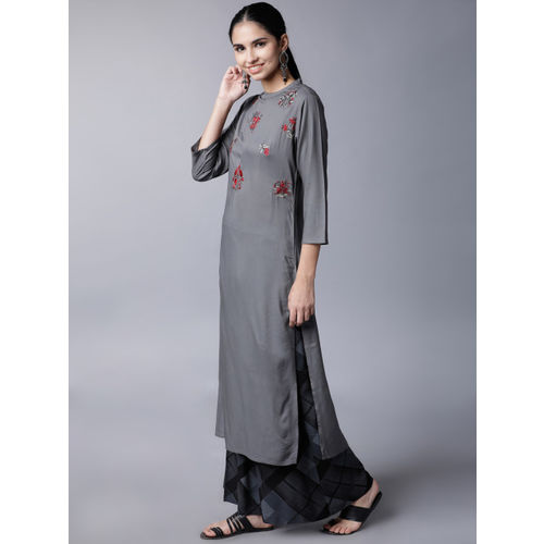 Vishudh Women Grey & Black Embroidered Kurti with Palazzos