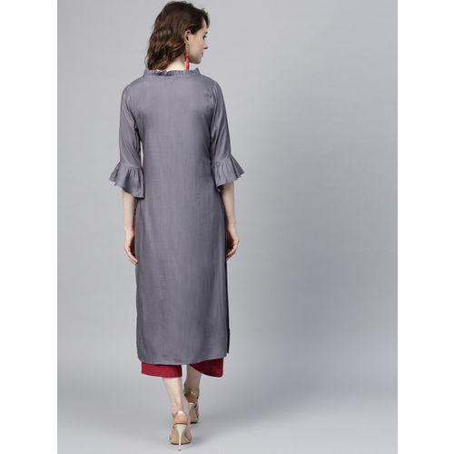 Yufta Women Grey Solid Straight Kurta