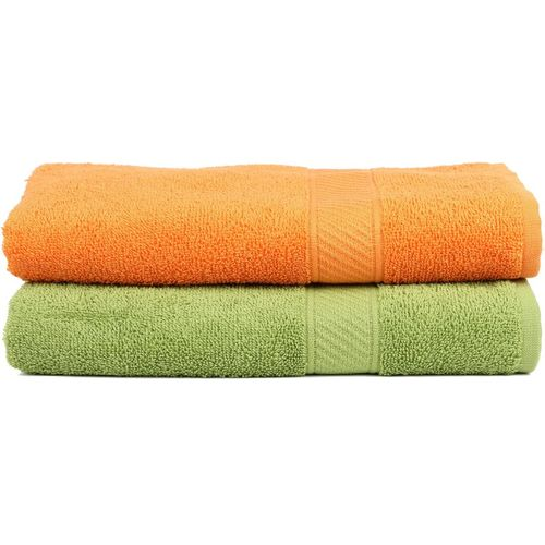 Trident Cotton 400 GSM Bath Towel(Pack of 2, Dark Green, Orange)