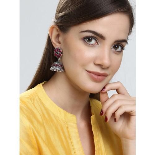 Rubans Silver-Toned & Red Dome Shaped Jhumkas
