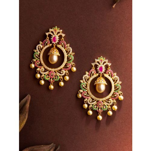 Rubans Gold-Toned & White Gold-Plated Classic Chandbalis