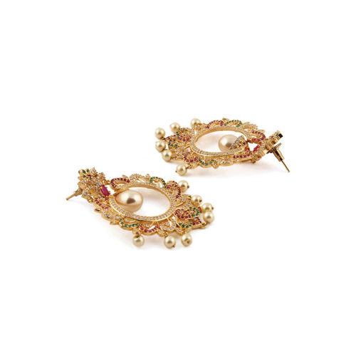 Rubans Gold-Toned & White Gold-Plated Classic Chandbalis