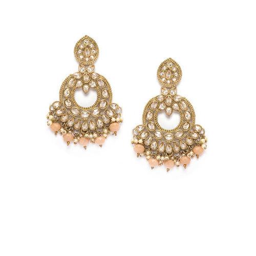 Rubans Gold-Toned & Pink Contemporary Chandbalis
