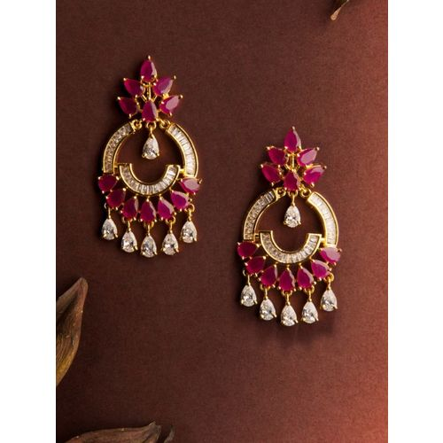 Rubans Gold-Toned & Pink Gold-Plated Floral Drop Earrings