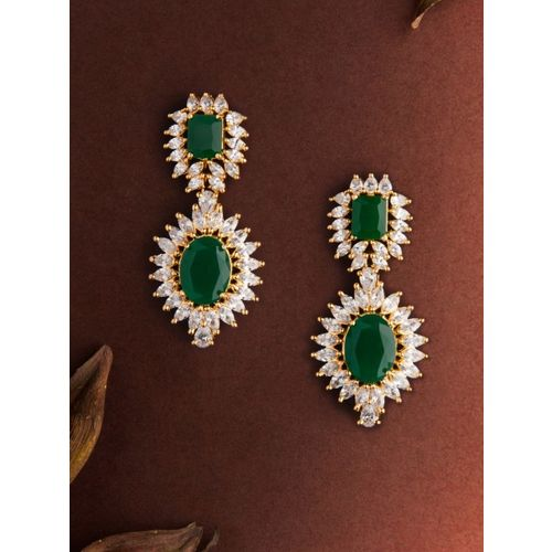 Rubans Gold-Toned & Green Gold-Plated Classic Drop Earrings