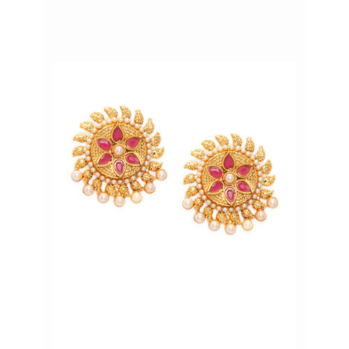 Rubans Gold-Plated Handcrafted Floral Studs