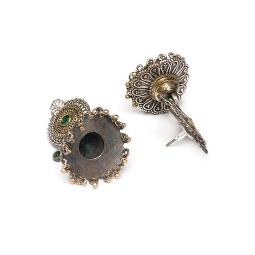 Rubans Silver-Plated Gold-Toned Dome Shaped Drop Earrings