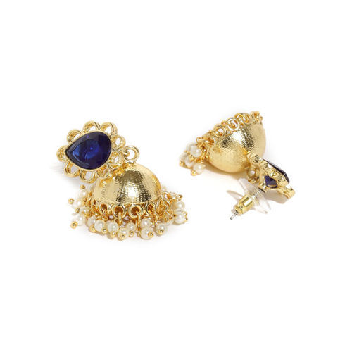 Rubans Gold-Toned & Blue Embellished Handcrafted Jhumkas