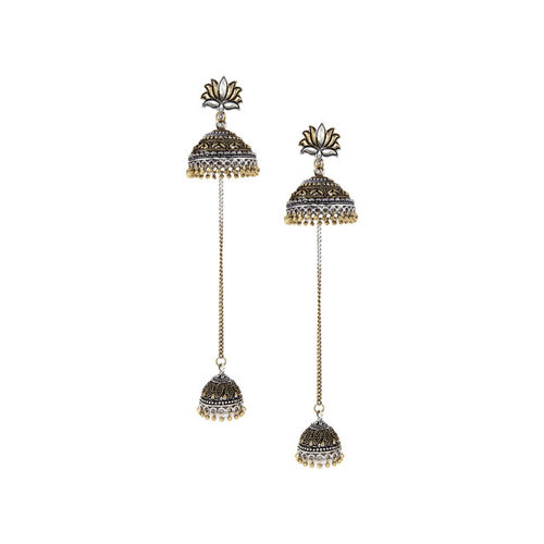 Rubans Silver-Toned & Gold-Toned Dome Shaped Jhumkas