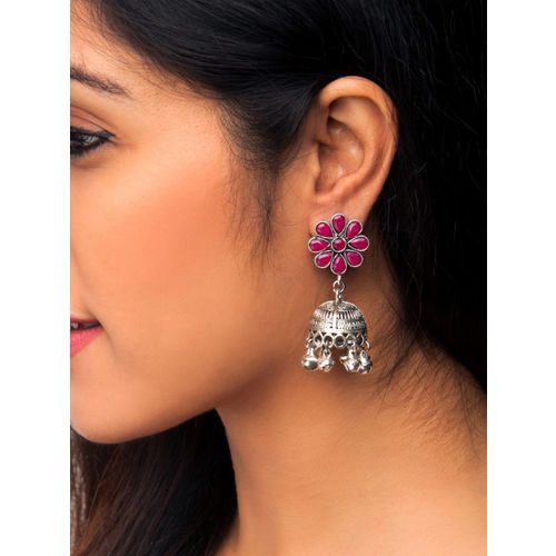 Rubans Oxidised Silver-Toned & Red Handcrafted Dome Shaped Jhumkas