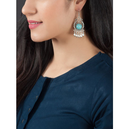 Rubans Silver-Toned & Blue Oxidised Handcrafted Classic Drop Earrings