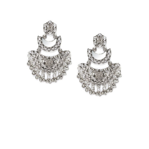 Rubans Oxidised Silver-Toned Classic Chandbali Earrings