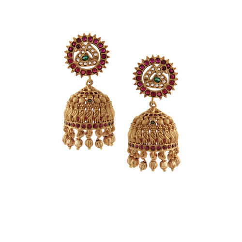 Rubans Gold-Toned & Pink Gold-Plated Dome Shaped Jhumkas