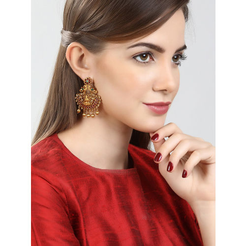 Rubans Gold-Toned & Green Gold-Plated Crescent Shaped Drop Earrings