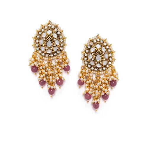 Rubans Gold-Toned & Pink Classic Drop Earrings