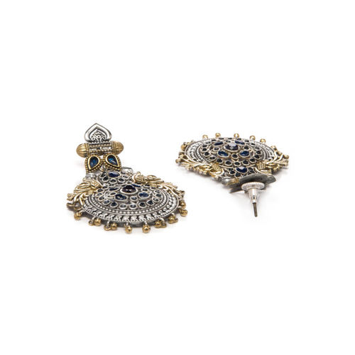 Rubans Silver-Toned & Gold-Toned Hancrafted Classic Drop Earrings