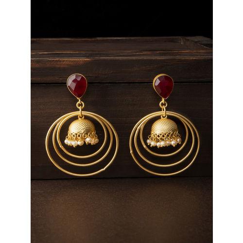 Rubans Women Gold-Toned & Red Contemporary Drop Earrings